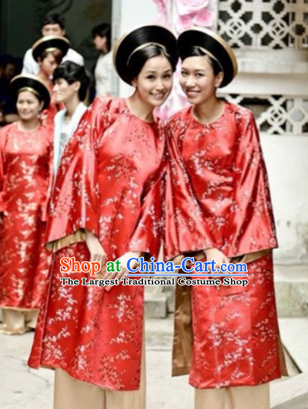 Classical Traditional Vietnam Wedding Dress and Hat Complete Set for Brides