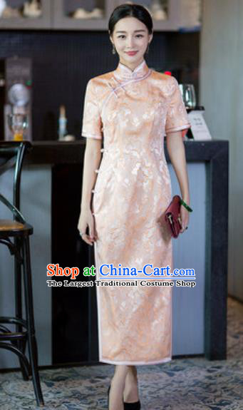 Chinese Traditional Tang Suit Qipao Dress National Costume Pink Silk Cheongsam for Women