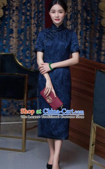 Chinese Traditional Tang Suit Qipao Dress National Costume Navy Silk Cheongsam for Women