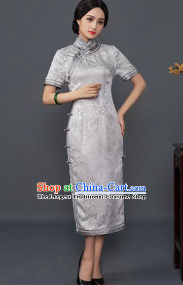 Chinese Traditional Tang Suit Qipao Dress National Costume Grey Silk Cheongsam for Women
