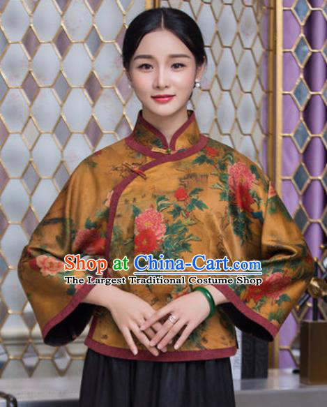 Chinese Traditional Tang Suit Upper Outer Garment Qipao Printing Peony Golden Blouse National Costume for Women