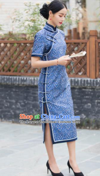 Chinese Traditional Blue Cheongsam Tang Suit Qipao Dress National Costume for Women