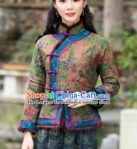 Chinese Traditional Tang Suit Upper Outer Garment Printing Wool Green Jacket National Costume for Women