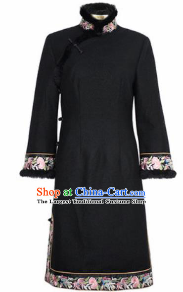 Chinese Traditional Black Woolen Embroidered Cheongsam Tang Suit Qipao Dress National Costume for Women