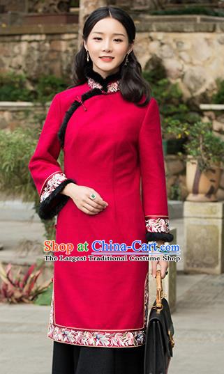 Chinese Traditional Red Woolen Embroidered Cheongsam Tang Suit Qipao Dress National Costume for Women