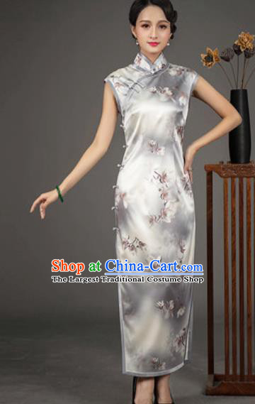 Chinese Traditional Printing Grey Silk Cheongsam Tang Suit Qipao Dress National Costume for Women
