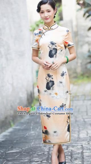Chinese Traditional Printing Lotus Silk Cheongsam Tang Suit Qipao Dress National Costume for Women