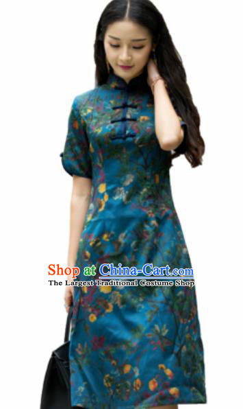 Chinese Traditional Embroidered Green Silk Cheongsam Tang Suit Qipao Dress National Costume for Women