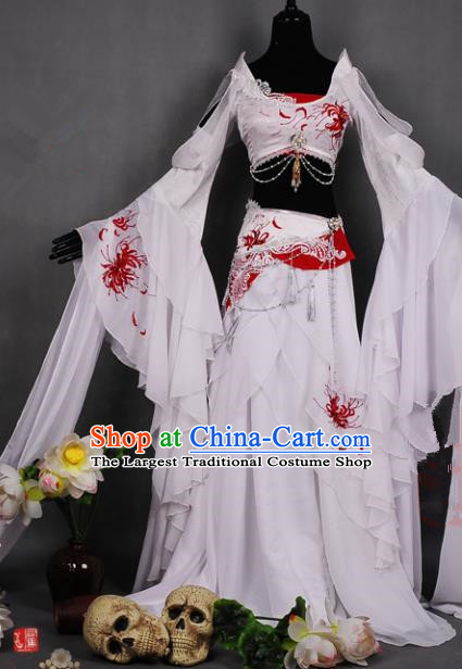 Chinese Traditional Cosplay Peri Costume Ancient Swordswoman White Hanfu Dress for Women