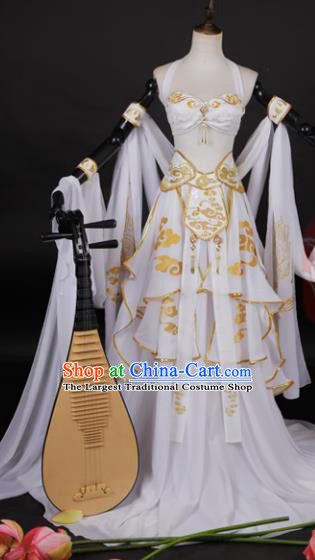 Chinese Traditional Cosplay Peri Goddess Costume Ancient Swordswoman White Hanfu Dress for Women