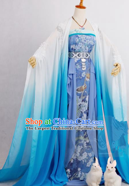 Chinese Traditional Cosplay Peri Goddess Costume Ancient Imperial Consort Blue Hanfu Dress for Women