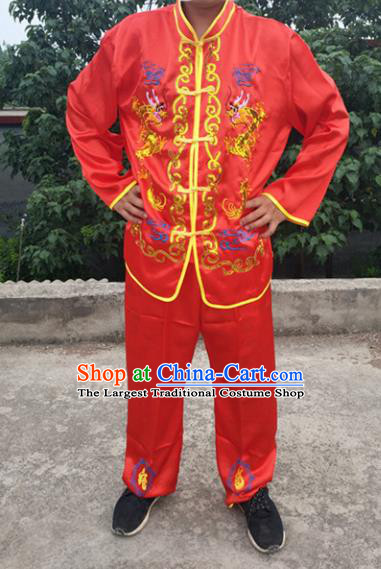 Chinese Traditional Folk Dance Costume Lion Dance Red Clothing for Men