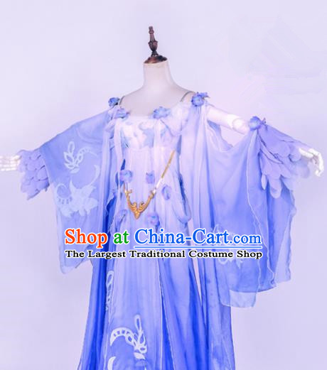 Traditional Chinese Cosplay Princess Costume Ancient Swordswoman Blue Hanfu Dress for Women