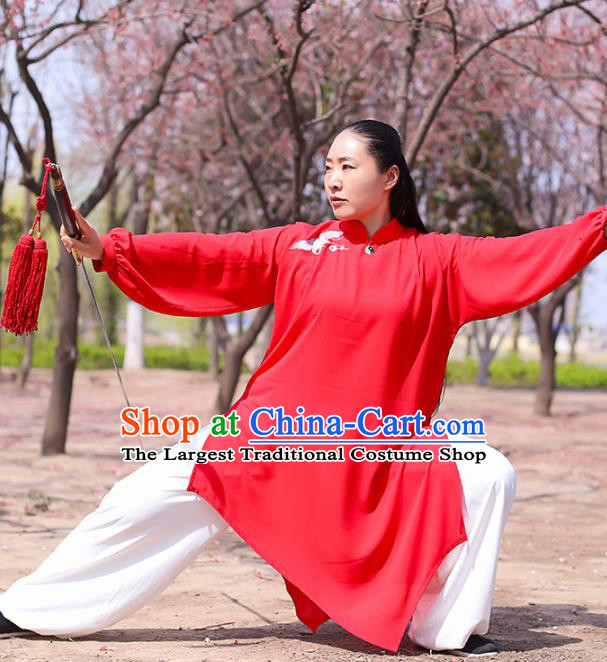Chinese Traditional Martial Arts Costume Kung Fu Tai Chi Red Clothing for Women