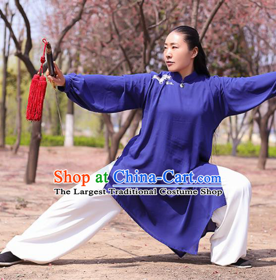 Chinese Traditional Martial Arts Costume Kung Fu Tai Chi Deep Blue Clothing for Women