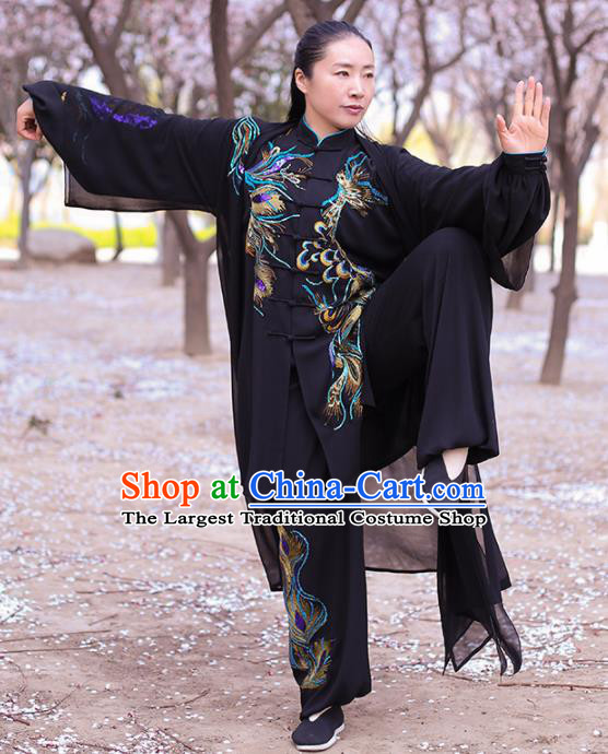 Chinese Traditional Martial Arts Costume Kung Fu Tai Chi Embroidered Phoenix Black Clothing for Women