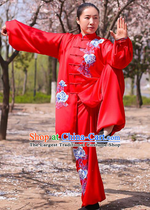 Chinese Traditional Martial Arts Costume Kung Fu Tai Chi Printing Peony Red Clothing for Women
