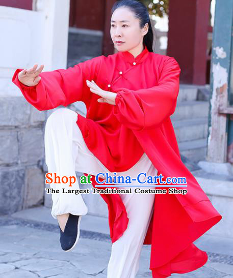 Chinese Traditional Martial Arts Competition Red Costume Kung Fu Tai Chi Clothing for Women