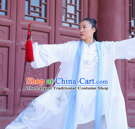 Chinese Traditional Martial Arts Competition Embroidered Costume Kung Fu Tai Chi Clothing for Women