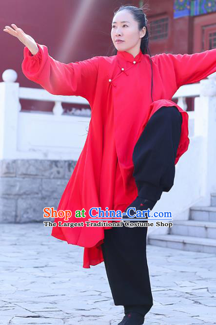 Chinese Traditional Martial Arts Kung Fu Competition Red Costume Tai Chi Clothing for Women