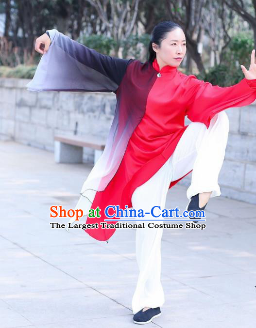 Chinese Traditional Kung Fu Competition Red Costume Martial Arts Tai Chi Clothing for Women