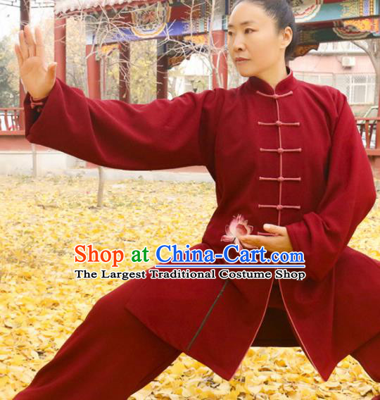 Chinese Traditional Kung Fu Competition Costume Martial Arts Tai Chi Embroidered Lotus Red Clothing for Women