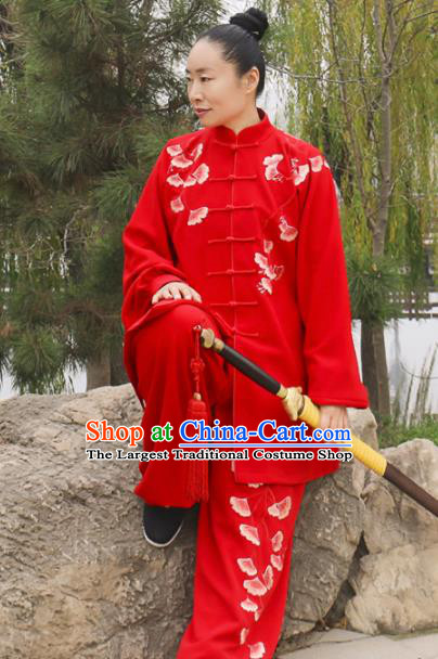Chinese Traditional Kung Fu Competition Costume Martial Arts Tai Chi Embroidered Ginkgo Leaf Red Clothing for Women