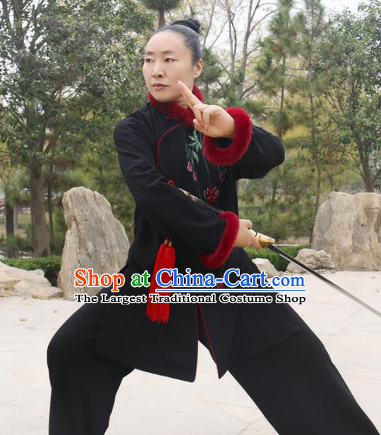 Chinese Traditional Kung Fu Competition Costume Martial Arts Tai Chi Embroidered Leaf Black Clothing for Women