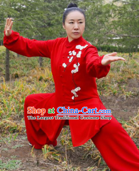 Chinese Traditional Kung Fu Competition Costume Martial Arts Tai Chi Embroidered Plum Blossom Red Clothing for Women