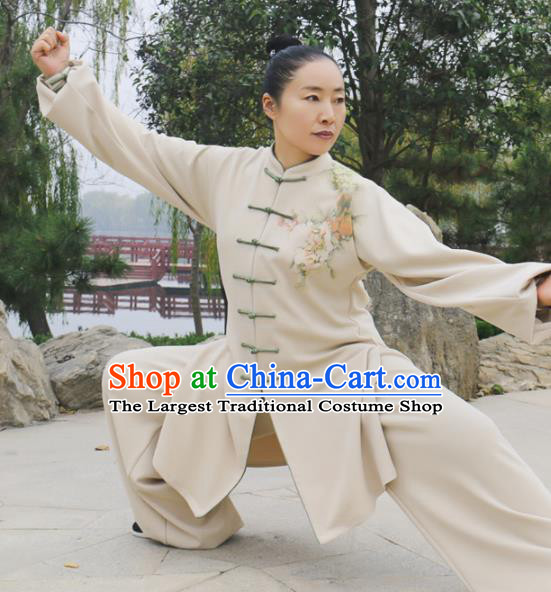 Chinese Traditional Kung Fu Competition Costume Martial Arts Tai Chi Printing Peony Clothing for Women