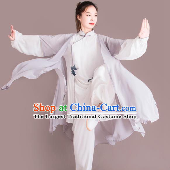 Chinese Traditional Kung Fu Competition Grey Costume Martial Arts Tai Chi Clothing for Women