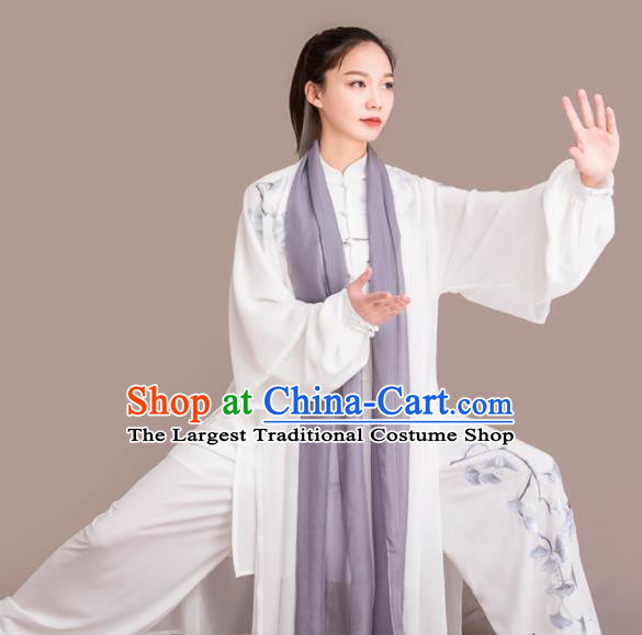 Chinese Traditional Kung Fu Competition Embroidered Ginkgo Leaf White Costume Martial Arts Tai Chi Clothing for Women