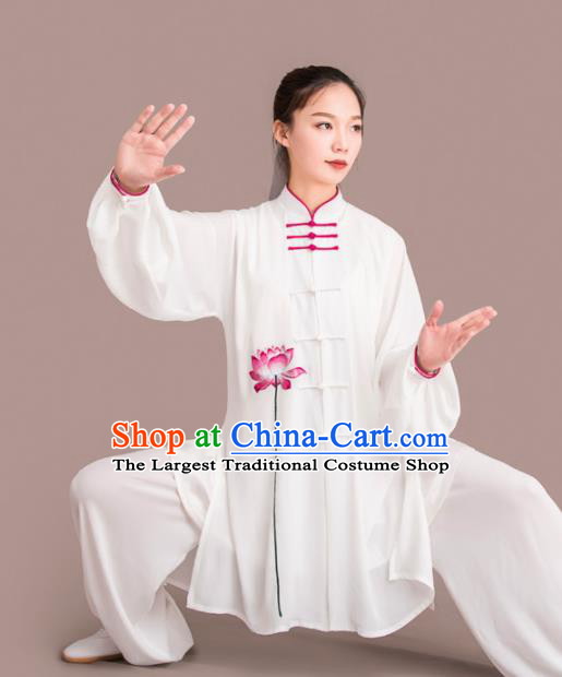Chinese Traditional Kung Fu Competition Embroidered Lotus Costume Martial Arts Tai Chi Clothing for Women