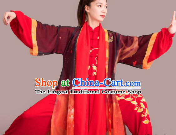 Chinese Traditional Kung Fu Competition Embroidered Ginkgo Leaf Red Costume Martial Arts Tai Chi Clothing for Women