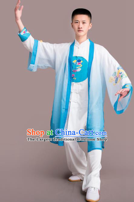 Chinese Traditional Kung Fu Competition Blue Costume Martial Arts Embroidered Clothing for Men