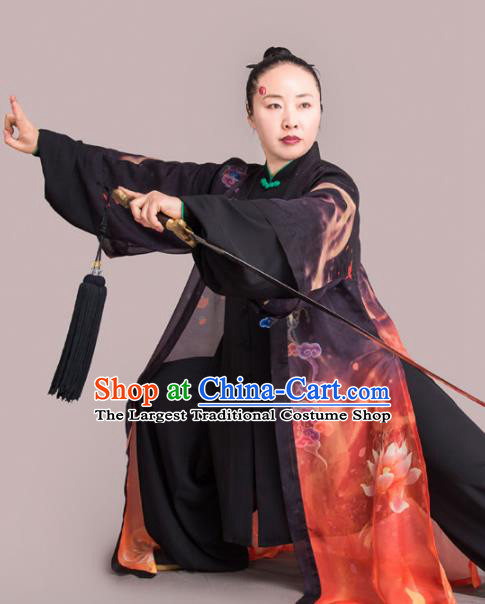 Chinese Traditional Kung Fu Competition Embroidered Clouds Black Costume Martial Arts Tai Chi Clothing for Women