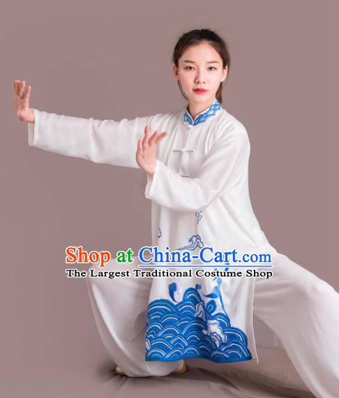 Chinese Traditional Kung Fu Costume Martial Arts Competition Tai Chi Embroidered Blue Clothing for Women