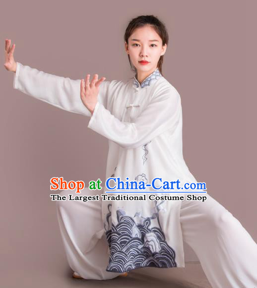 Chinese Traditional Kung Fu Costume Martial Arts Competition Tai Chi Embroidered Grey Clothing for Women