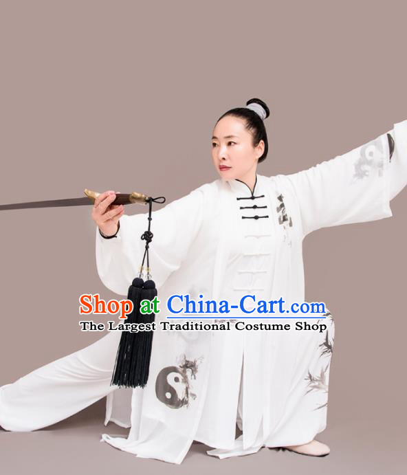 Chinese Traditional Kung Fu Costume Martial Arts Competition Tai Chi Printing Bamboo Clothing for Women