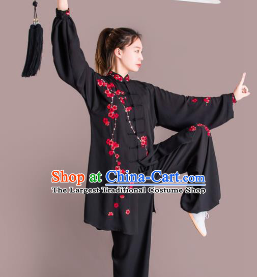 Chinese Traditional Kung Fu Competition Black Costume Martial Arts Tai Chi Embroidered Plum Blossom Clothing for Women