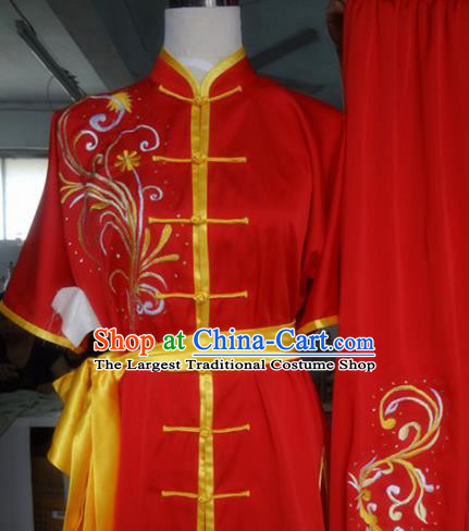 Chinese Traditional Kung Fu Costume Martial Arts Tai Chi Embroidered Orchid Red Clothing for Women
