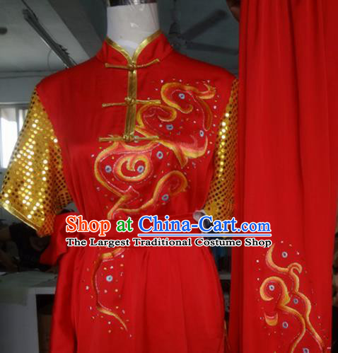 Chinese Traditional Kung Fu Costume Martial Arts Tai Chi Embroidered Red Clothing for Women