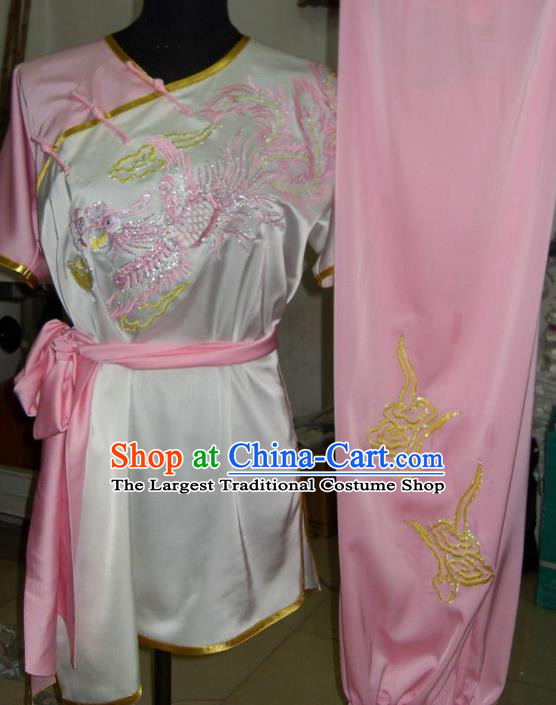 Chinese Traditional Kung Fu Costume Martial Arts Tai Chi Embroidered Dragon Pink Clothing for Women