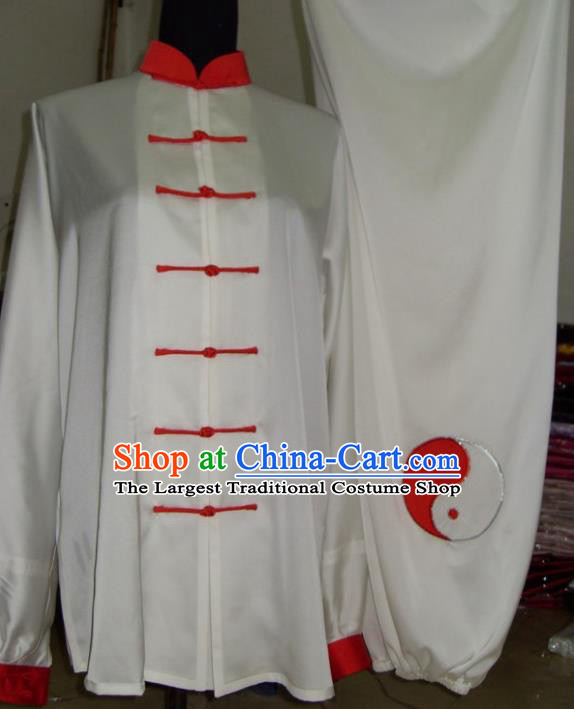Chinese Traditional Kung Fu Competition Costume Tai Chi Martial Arts White Clothing for Men