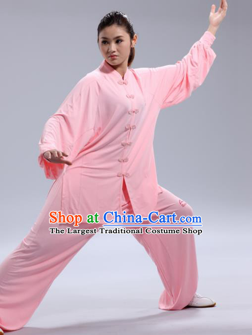 Chinese Traditional Kung Fu Pink Costume Martial Arts Tai Chi Clothing for Women