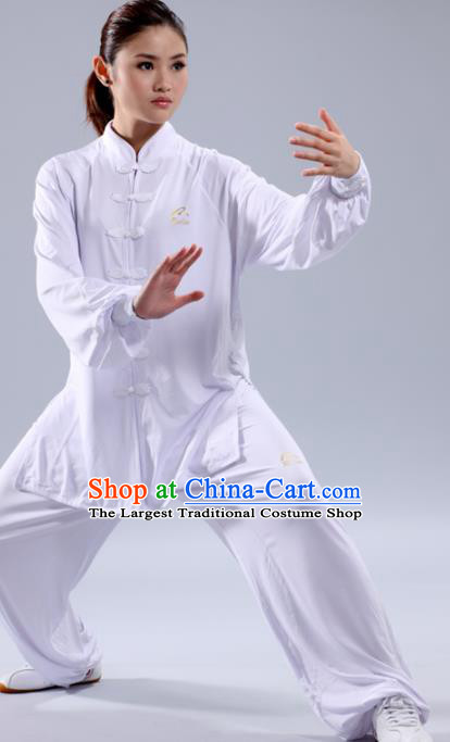 Chinese Traditional Kung Fu White Costume Martial Arts Tai Chi Clothing for Women