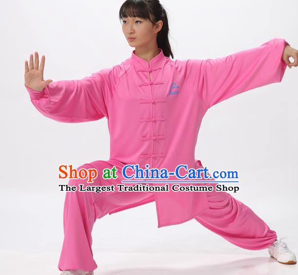 Chinese Traditional Kung Fu Competition Rosy Costume Martial Arts Tai Chi Clothing for Women