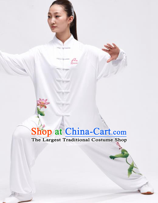 Chinese Traditional Kung Fu Competition Printing Lotus White Costume Martial Arts Tai Chi Clothing for Women