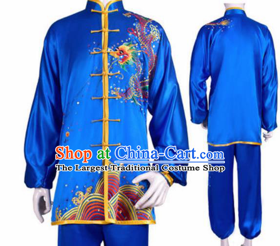 Chinese Traditional Kung Fu Competition Costume Martial Arts Tai Chi Embroidered Dragon Blue Clothing for Women