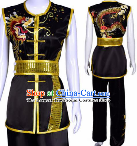 Chinese Traditional Kung Fu Competition Costume Martial Arts Embroidered Dragon Black Clothing for Men
